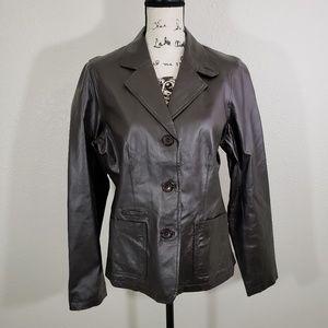 Chadwicks Women's Gray Leather Jacket Size 12